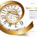 عکس با کیفیت ساعت پیچ خورده به شکل حلزون و به رنگ طلایی
