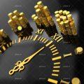 عکس با کیفیت سکه های طلا بر روی ساعت مشکی با عقربه ها و اعداد یونانی طلایی رنگ