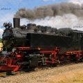 عکس با کیفیت قطار به رنگ مشکی و در حال حرکت بر روی ریل در طبیعت