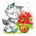 عکس با کیفیت فرغون پر گل در دست گربه ی ملوس