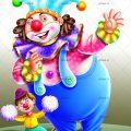 عکس با کیفیت کودک با لباس و چهره ی دلقک ایستاده در کنار دلقک بزرگ