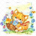 عکس با کیفیت سبد و گل های رنگارنگ در آن و سبد در دست گربه ی نارنجی
