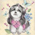عکس با کیفیت کاراکتر سگ با نژاد شیتزو و لباس صورتی و پروانه های زیبا در اطراف سگ