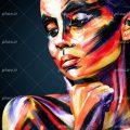 عکس با کیفیت نقاشی چهره ی زن با رنگ های زیبا و پس زمینه به رنگ مشکی