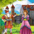 عکس با کیفیت پرنسس و پادشاه ایستاده در باغ سرسبز قصر بزرگ